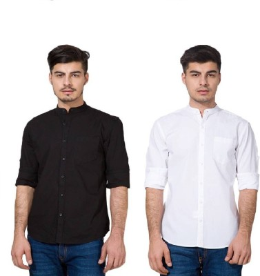 Urbano Fashion Men's Solid Casual Black, White Shirt(Pack of 2)