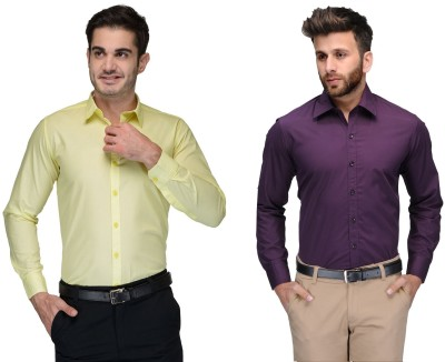 Allen Men's Solid Formal Yellow, Purple Shirt(Pack of 2)