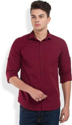 Highlander Men's Solid Casual Maroon Shirt