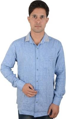 Red Rezz Men's Self Design Casual Blue Shirt