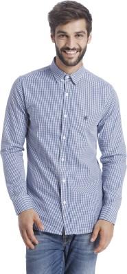 Selected Men Checkered Casual Blue Shirt at flipkart