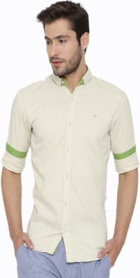 Fifty Two Men's Solid Casual Beige Shirt