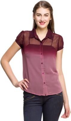Oxolloxo Women Solid Casual Maroon Shirt at flipkart