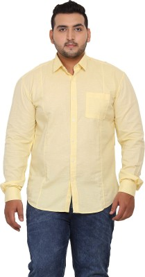 John Pride Men Solid Casual Yellow Shirt at flipkart