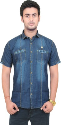 Swiss Culture Men's Self Design Casual Denim Blue Shirt