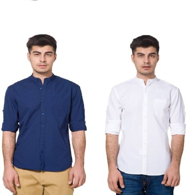 Urbano Fashion Men's Solid Casual Blue, White Shirt(Pack of 2)