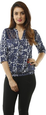 Lynda Women Printed Casual White, Blue Shirt at flipkart