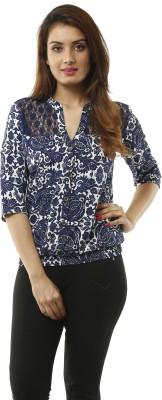 Lynda Women Printed Casual White, Blue Shirt at flipkart
