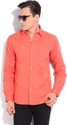 Wrangler Men's Solid Casual Orange Shirt