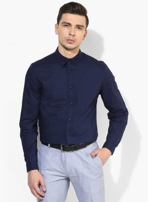 La Polo Men's Solid Wedding Dark Blue Shirt