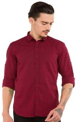 Urbano Fashion Men's Solid Casual Maroon Shirt