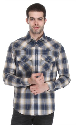 Reevolution Men's Checkered Casual Blue, White Shirt