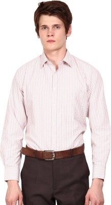 I-Voc Men's Checkered Formal White, Orange Shirt