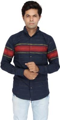 JG FORCEMAN Men Striped Casual Light Blue Shirt at flipkart