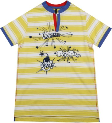 United Colors of Benetton Boys Striped Cotton T Shirt(Yellow, Pack of 1)