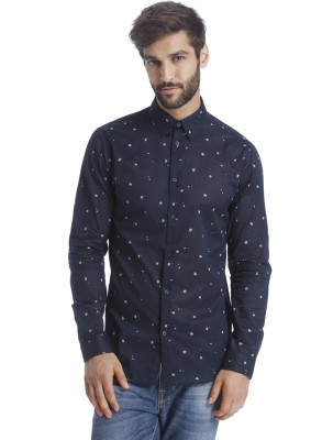Selected Men Printed Casual Blue Shirt at flipkart