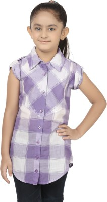Eves Pret A Porter Girls Checkered Casual White, Purple Shirt