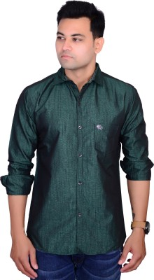 British Terminal Men's Solid Casual Green Shirt at flipkart