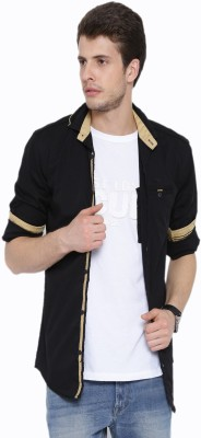 Fifty Two Men's Solid Casual Black Shirt