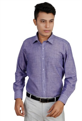 Helg Men's Solid Formal Linen Blue Shirt