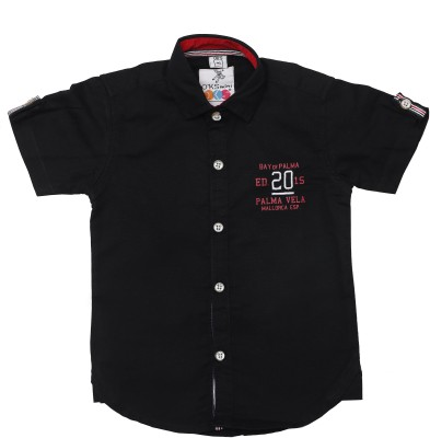 OKS mini Baby Boy's Graphic Print Casual Button Down Shirt