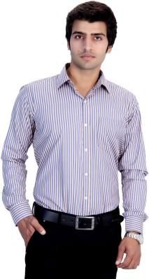 25th R Men's Striped Formal Yellow, Blue Shirt