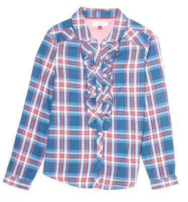 US Polo Kids Girls Checkered Casual Blue Shirt  available at flipkart for Rs.599