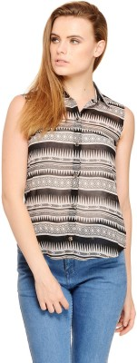 Cattleya Women's Printed Casual Black Shirt  available at flipkart for Rs.299