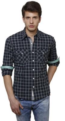 True Tittos Men's Checkered Casual Dark Green, White, Beige Shirt