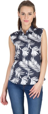 Hypernation Women's Printed Casual Blue, White Shirt  available at flipkart for Rs.279