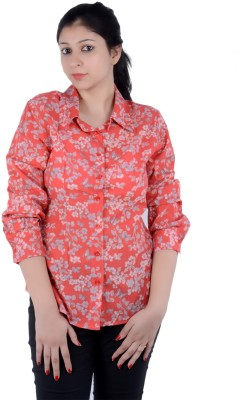 S9 Women's Printed Casual Orange, Multicolor Shirt  available at flipkart for Rs.299