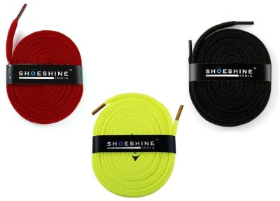 Shoeshine India sports & sneaker shoes laces 120cm S3 flat Shoe Lace(Multi Set of 3)  available at flipkart for Rs.195