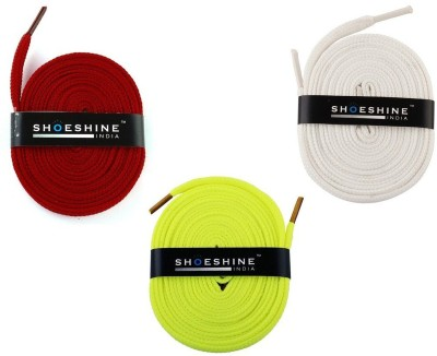 Shoeshine India sports & sneaker shoes laces 120cm S4 flat Shoe Lace(Multi Set of 3)  available at flipkart for Rs.195