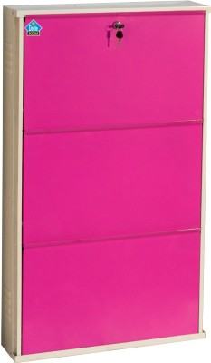 Delite Kom Metal Shoe Cabinet(Pink, 3 Shelves)
