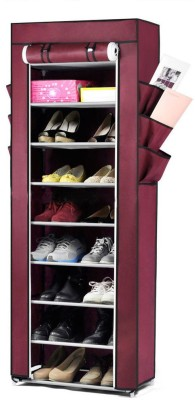 Pindia Fancy 10 Layer Maroon Shoe Rack Organizer Polyester Collapsible Shoe Stand(Maroon, 10 Shelves)