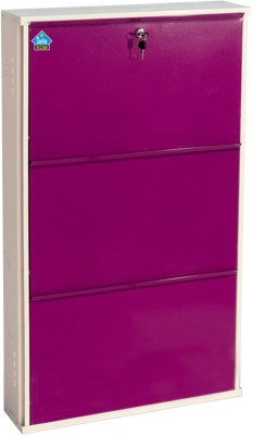 Delite Kom Metal Shoe Cabinet(Purple, 3 Shelves)