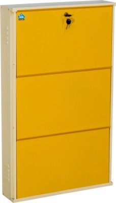 Delite Kom Metal Shoe Cabinet(Yellow, 3 Shelves)