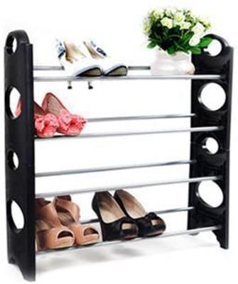 Go Hooked Plastic, Aluminium Collapsible Shoe Stand(Black, 4 Shelves) at flipkart