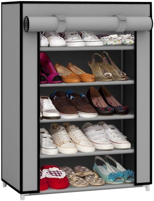 Pindia Fancy Layer Grey Shoe Rack Organizer Polyester Collapsible Shoe Stand(Grey, 5 Shelves)