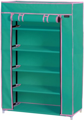 Pindia Polyester Shoe Cabinet(Green, Pink, 5 Shelves)