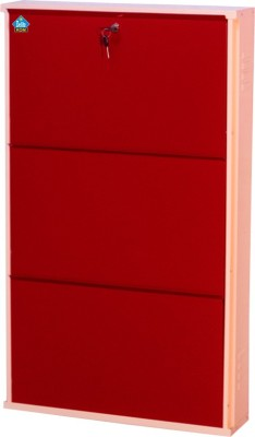 Delite Kom 24 Inches wide Three Door Powder Coated Wall Mounted Metallic Ivory Brick Red Metal Shoe Rack(Red, 3 Shelves)  available at flipkart for Rs.4554