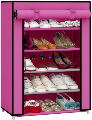 Pindia 4 Layer Maroon Design Rack Organizer Polyester Collapsible Shoe Stand(Maroon, 4 Shelves)