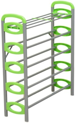 Kawachi Carbon Steel Collapsible Shoe Stand(Green, 6 Shelves)