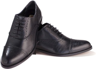 Walker Styleways Excellent Black Leather Brogue Lace Up Shoes(Black) at flipkart