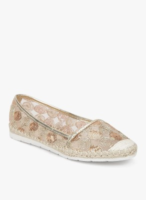 Addons Embroidered translucent espadrille Loafers For Women(Gold)