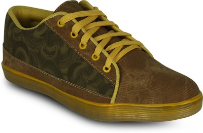 Get Glamr Stylish Lace up Sneakers(Tan) at flipkart