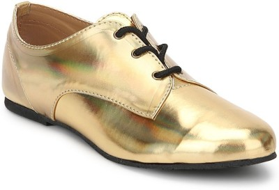 Chalk Studio Iridescent - Gold - Oxford Lace Ups Casuals For Women(Gold)