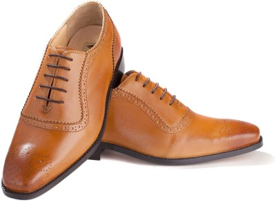 Walker Styleways Exquisite Tan Leather Brogue Lace Up Shoes(Tan) at flipkart