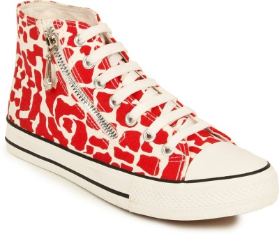 Advin England Red Pebble Ankle Chain Canvas Shoes For Women(Red, White)