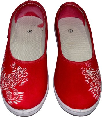 Sona Mona Creations Hand Painted Bellies For Women(Red) at flipkart